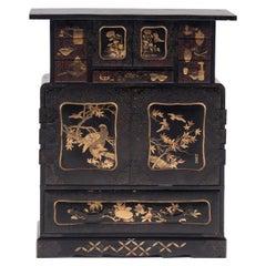 Japanese Gilt Black Lacquer Tea Chest, Late 19th Century