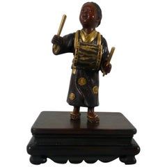 Japanese Gilt Bronze Okimono of a Boy, Meiji Period