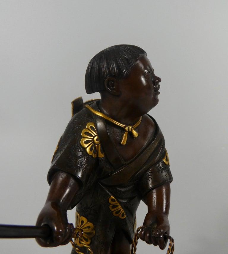 Japanese Gilt Bronze Okimono of a Boy, Miyao Eisuke, Meiji Period 7