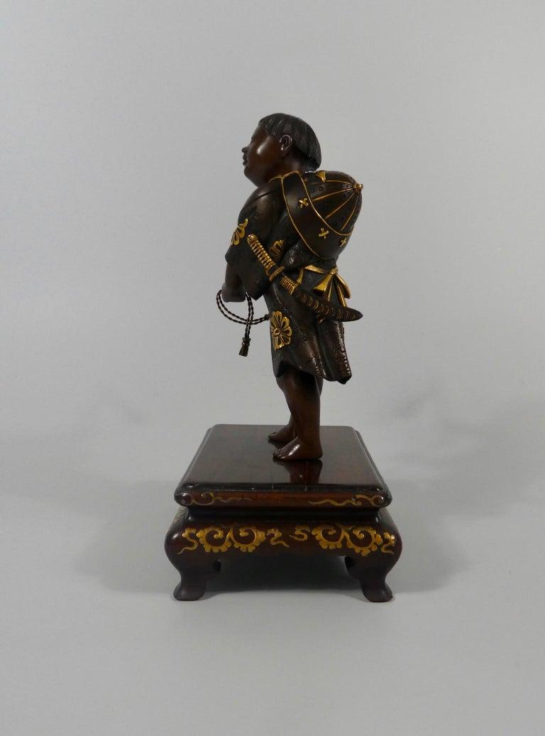 Japanese Gilt Bronze Okimono of a Boy, Miyao Eisuke, Meiji Period In Good Condition In Gargrave, North Yorkshire