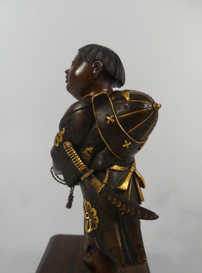 19th Century Japanese Gilt Bronze Okimono of a Boy, Miyao Eisuke, Meiji Period