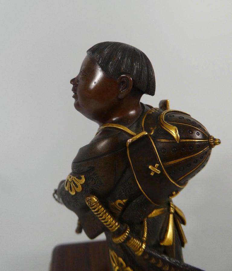 Japanese Gilt Bronze Okimono of a Boy, Miyao Eisuke, Meiji Period 1