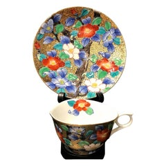 Japanese Gold Red White Porcelain Cup and Saucer by Contemporary Master Artist