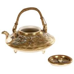 Japanese Gilt Satsuma Tripod Teapot