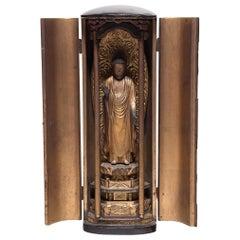 Japanese Gilt Traveling Shrine of Standing Buddha, circa 1850