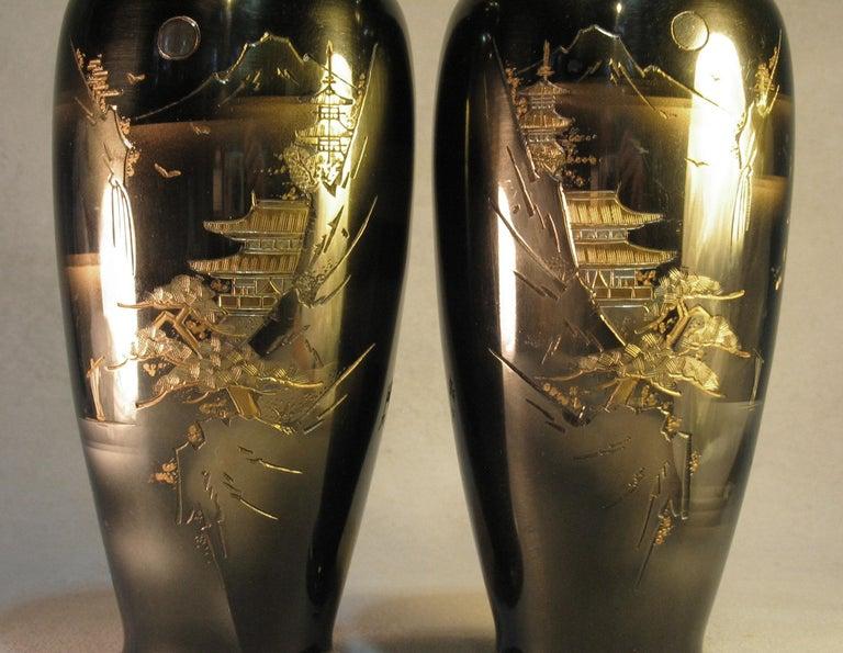 Japanese Ginbari Cloisonne Enamel Vase & Pair of Patinated Bronze Engraved Vases For Sale 5