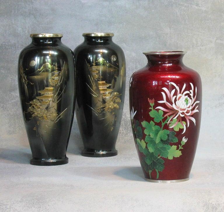 Japanese Ginbari Cloisonne Enamel Vase & Pair of Patinated Bronze Engraved Vases For Sale 7