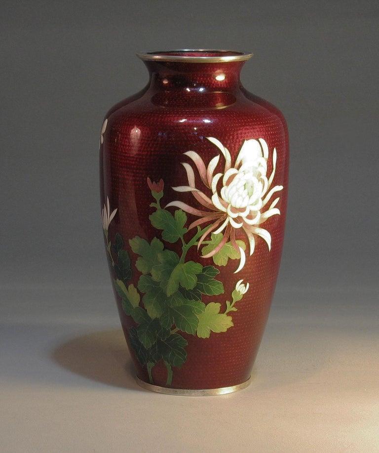 Japanese Ginbari Cloisonne Enamel Vase & Pair of Patinated Bronze Engraved Vases For Sale 9