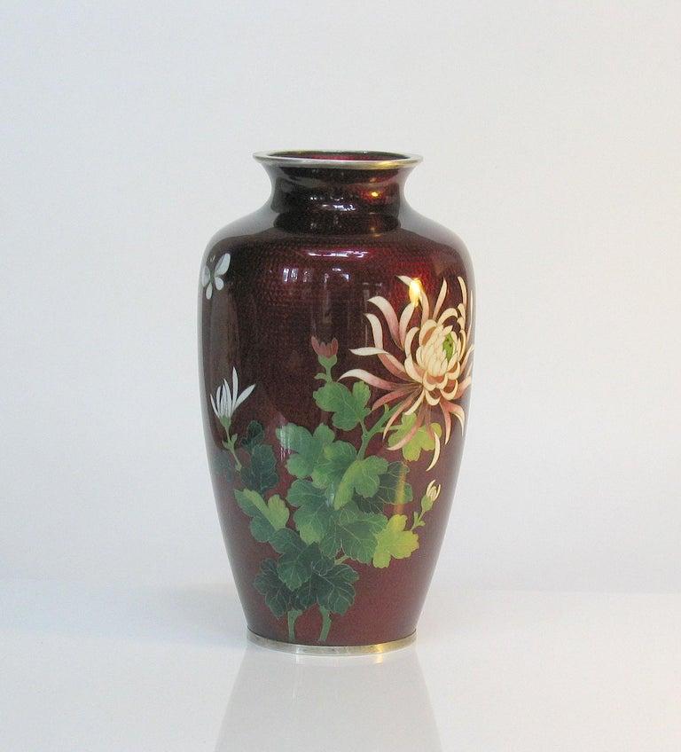 Meiji Japanese Ginbari Cloisonne Enamel Vase & Pair of Patinated Bronze Engraved Vases For Sale