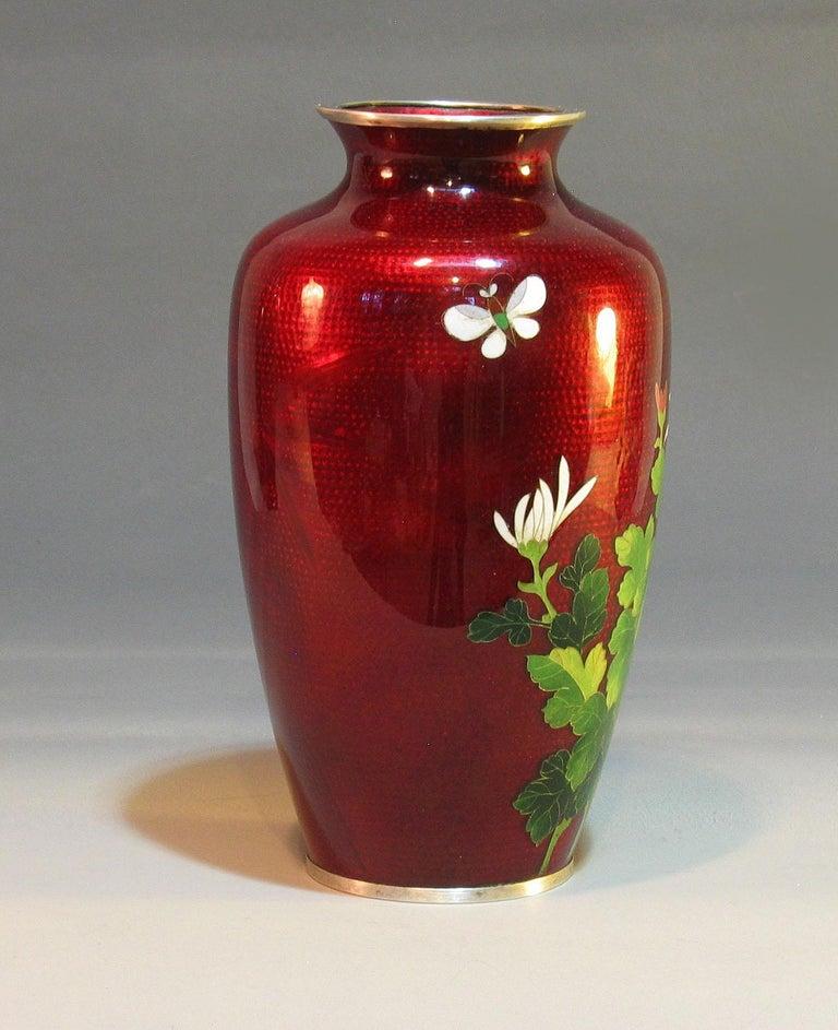 20th Century Japanese Ginbari Cloisonne Enamel Vase & Pair of Patinated Bronze Engraved Vases For Sale