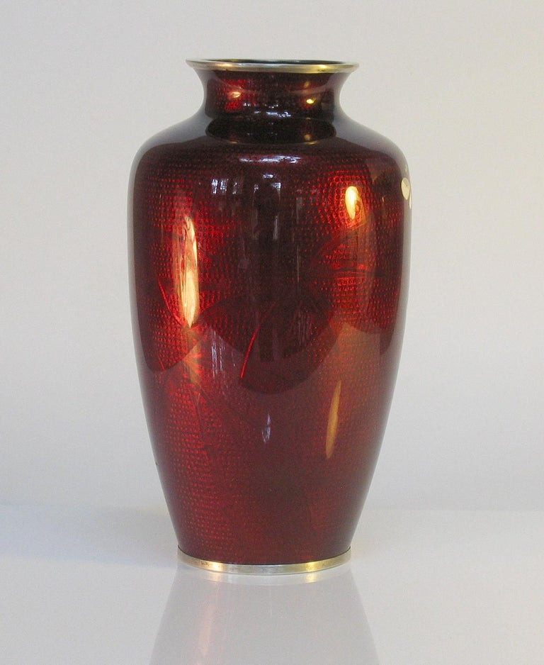 Japanese Ginbari Cloisonne Enamel Vase & Pair of Patinated Bronze Engraved Vases For Sale 1