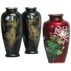 Japanese Ginbari Cloisonne Enamel Vase & Pair of Patinated Bronze Engraved Vases