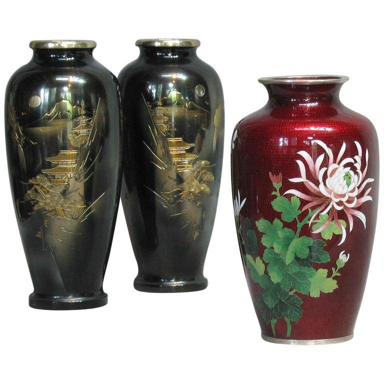 Japanese Ginbari Cloisonne Enamel Vase & Pair of Patinated Bronze Engraved Vases For Sale