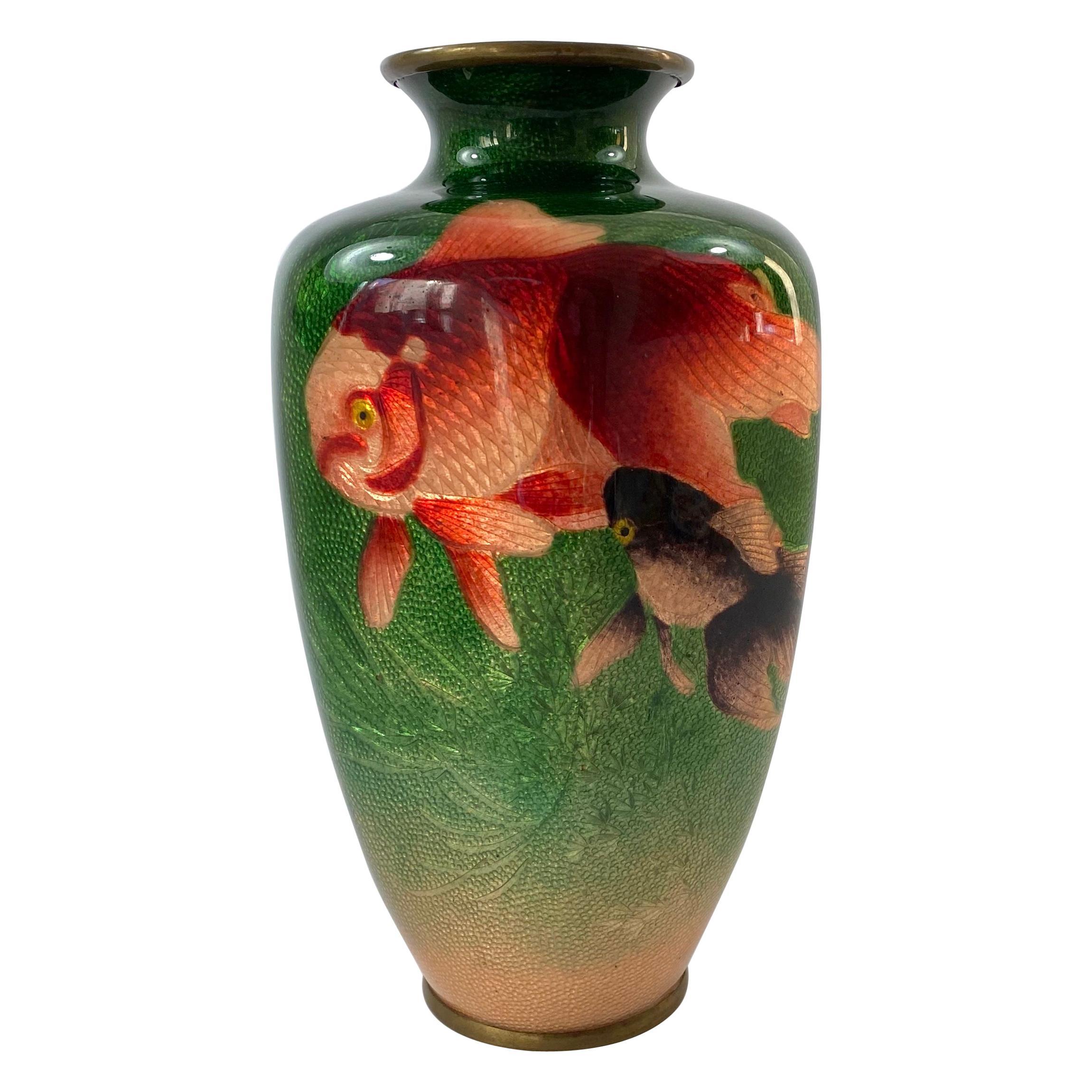 Japanese Ginbari Cloisonne Vase, Ota Toshiro, Meiji Period