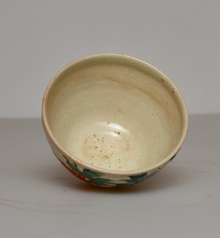 Ceramic Japanese Glazed Tea Bowl with Floral Decoration For Sale