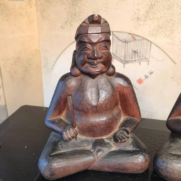 Taisho Japanese Gods Prosperity and Business Finely Sculpted Antique Hand-Carved, Pair For Sale