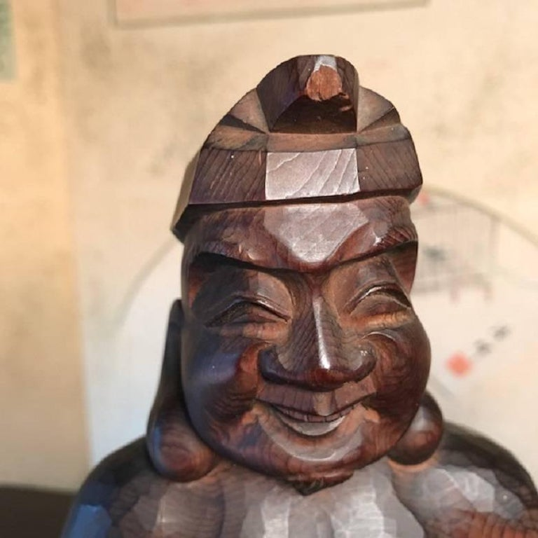 Japanese Gods Prosperity and Business Finely Sculpted Antique Hand-Carved, Pair In Good Condition For Sale In Shelburne, VT