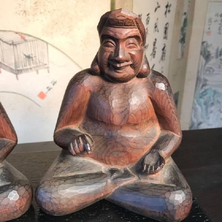 20th Century Japanese Gods Prosperity and Business Finely Sculpted Antique Hand-Carved, Pair For Sale