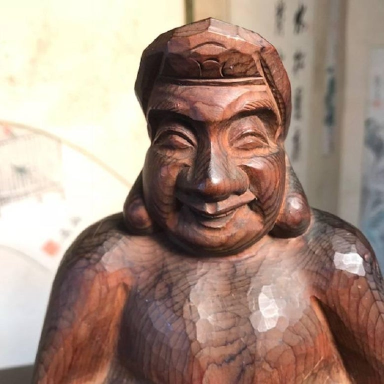 Wood Japanese Gods Prosperity and Business Finely Sculpted Antique Hand-Carved, Pair For Sale
