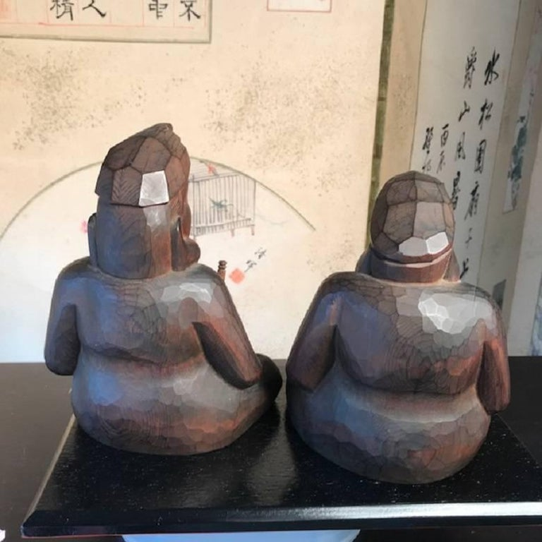 Japanese Gods Prosperity and Business Finely Sculpted Antique Hand-Carved, Pair For Sale 2