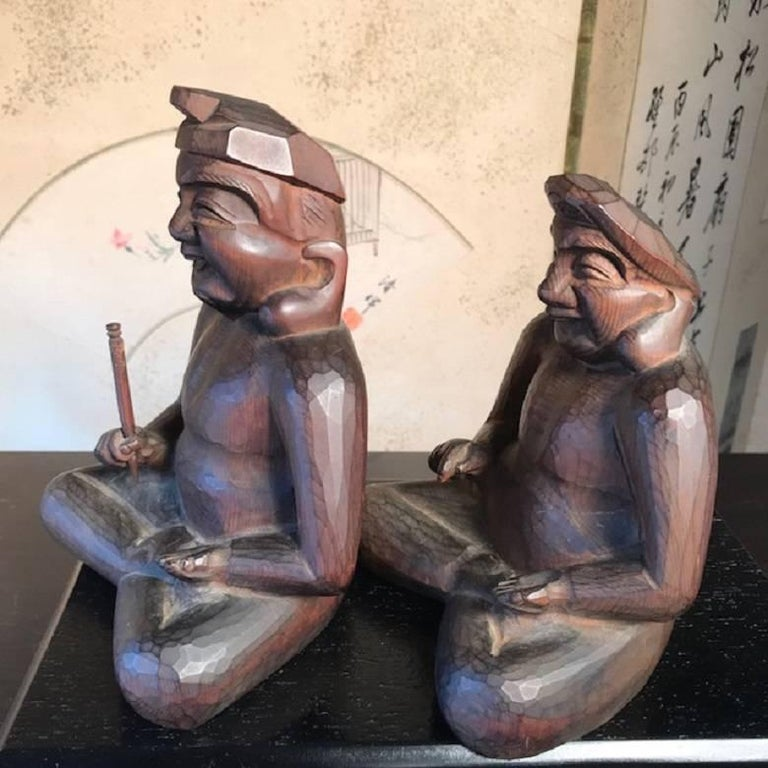 Japanese Gods Prosperity and Business Finely Sculpted Antique Hand-Carved, Pair For Sale 3