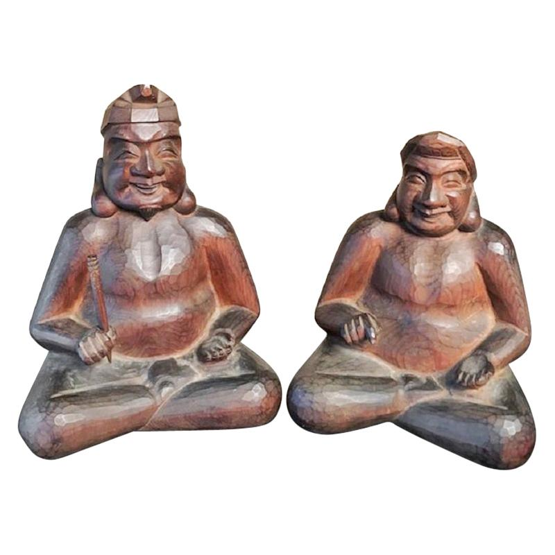 Japanese Gods Prosperity and Business Finely Sculpted Hand Carved, Pair