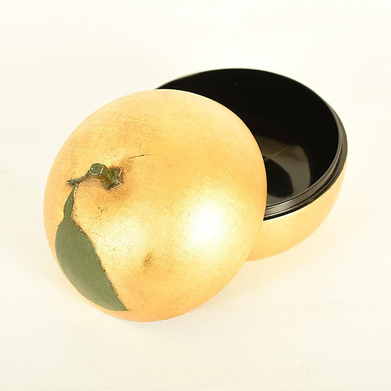 Gilt Japanese Gold Lacquer Container or Lidded Bowl in the Shape of a Nashi Pear