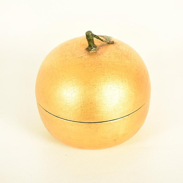 Wood Japanese Gold Lacquer Container or Lidded Bowl in the Shape of a Nashi Pear