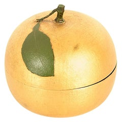 Japanese Gold Lacquer Container or Lidded Bowl in the Shape of a Nashi Pear