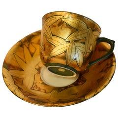 Japanese Gold Leaf Black Porcelain Cup and Saucer by Master Artist
