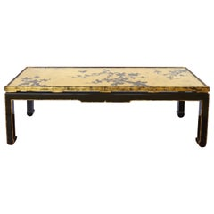 Japanese Gold Leaf Cherry Blossom Coffee Table with Inset Glass