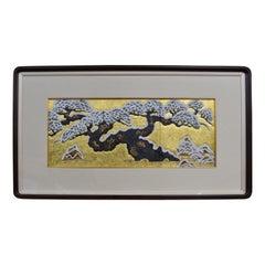 Japanese Gold Leaf Hand Painted Framed Porcelain Panel by Master Artist