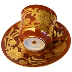 Gold Leaf Red Porcelain Cup and Saucer by Japanese Master Artist
