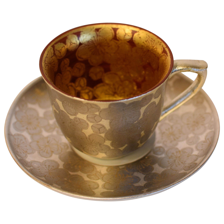 Japanese Gold Leaf Silver Leaf Red Porcelain Cup and Saucer by Master Artist