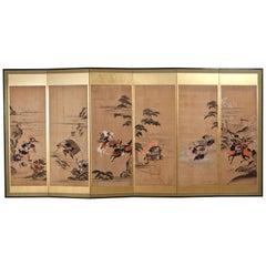 Japanese Golden 6-Leaf Folding Screen Painted