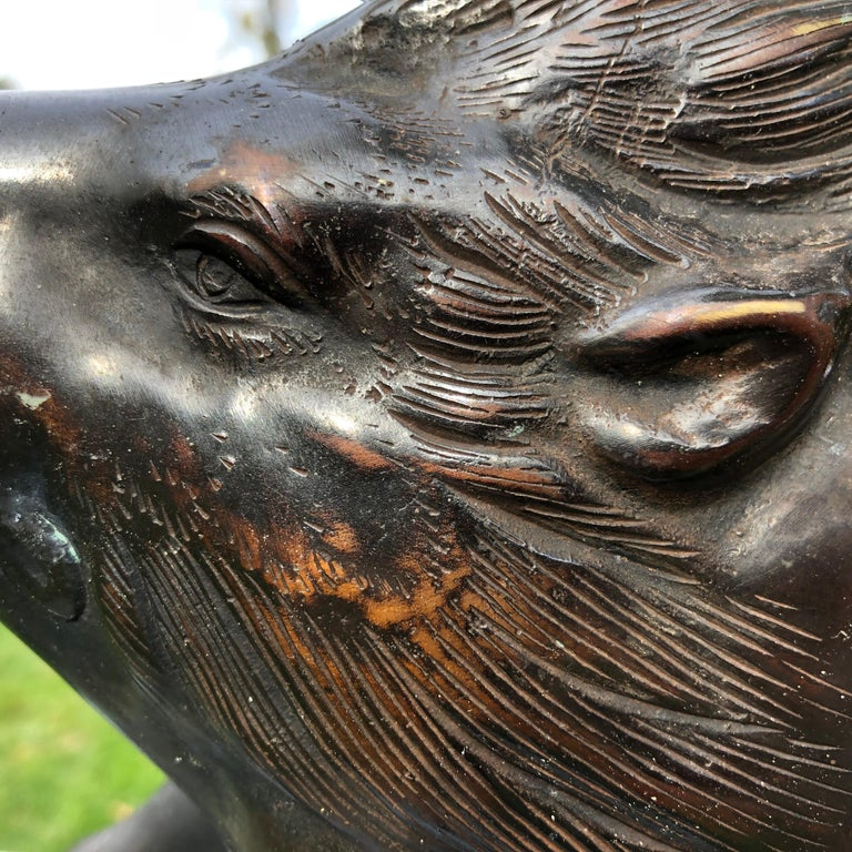 20th Century Japanese Great Boar Pig Finely Cast Bronze Sculpture For Sale