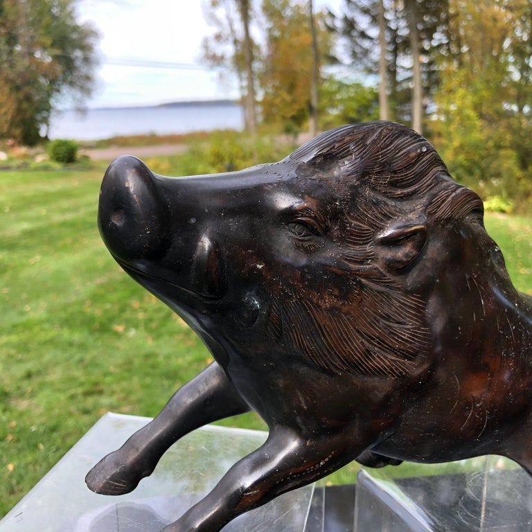 Japanese Great Boar Pig Finely Cast Bronze Sculpture For Sale 1