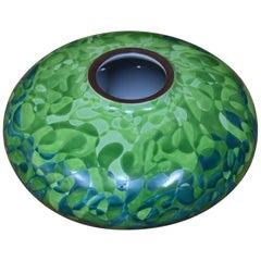 Japanese Green Blue Decorative Porcelain Vase by Master Artist, circa 2005