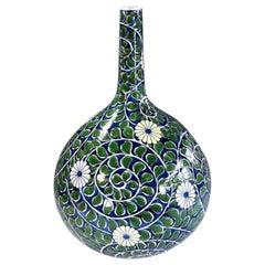 Japanese Green Blue Porcelain Vase by Contemporary Master Artist