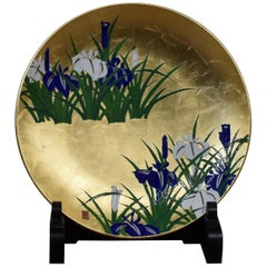 Japanese Contemporary Green Gold Blue Porcelain Charger by Master Artist