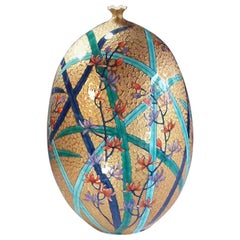 Japanese Green Gold Blue Porcelain Vase by Contemporary Master Artist