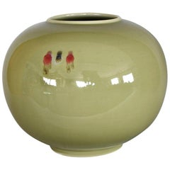 Green Hand-Glazed Porcelain Vase by Contemporary Japanese Master Artist