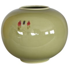 Japanese Green Hand-Glazed Porcelain Vase by Contemporary Master Artist