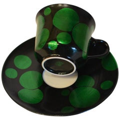 Japanese Green Porcelain Cup and Saucer by Master Artist