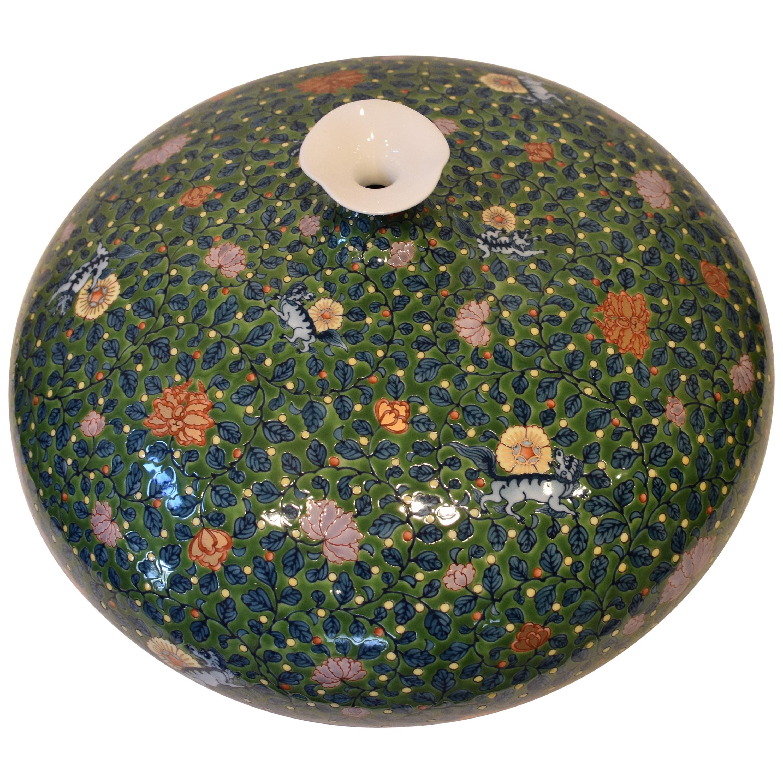 Japanese Contemporary Green Blue Orange Porcelain Vase by Master Artist