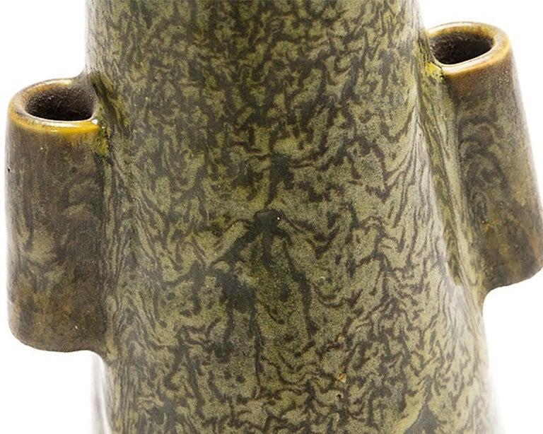 Glazed Japanese Green Studio Pottery Vase from the Studio of Rokubei VI For Sale