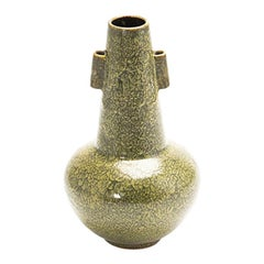 Japanese Green Studio Pottery Vase from the Studio of Rokubei VI