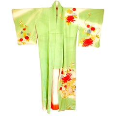 Japanese Green Vintage Gold Embroidered Chrysanthemum Silk Furisode Kimono