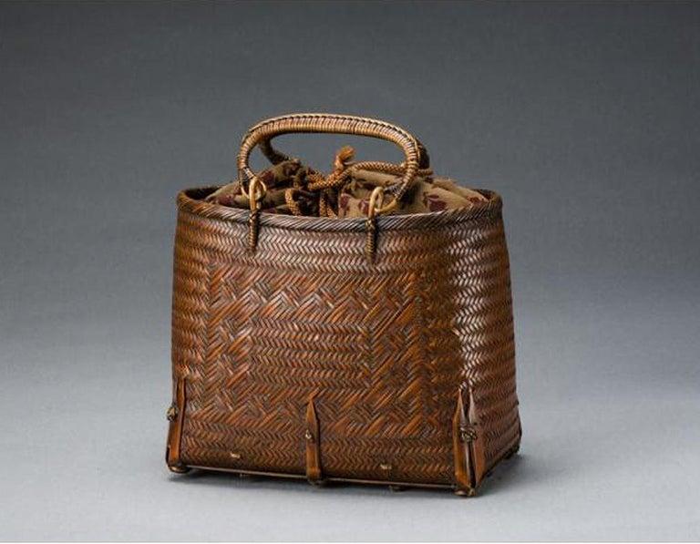 Japanese Hand Basket with Brocade Interior by Suzuki Gengensai For Sale 3