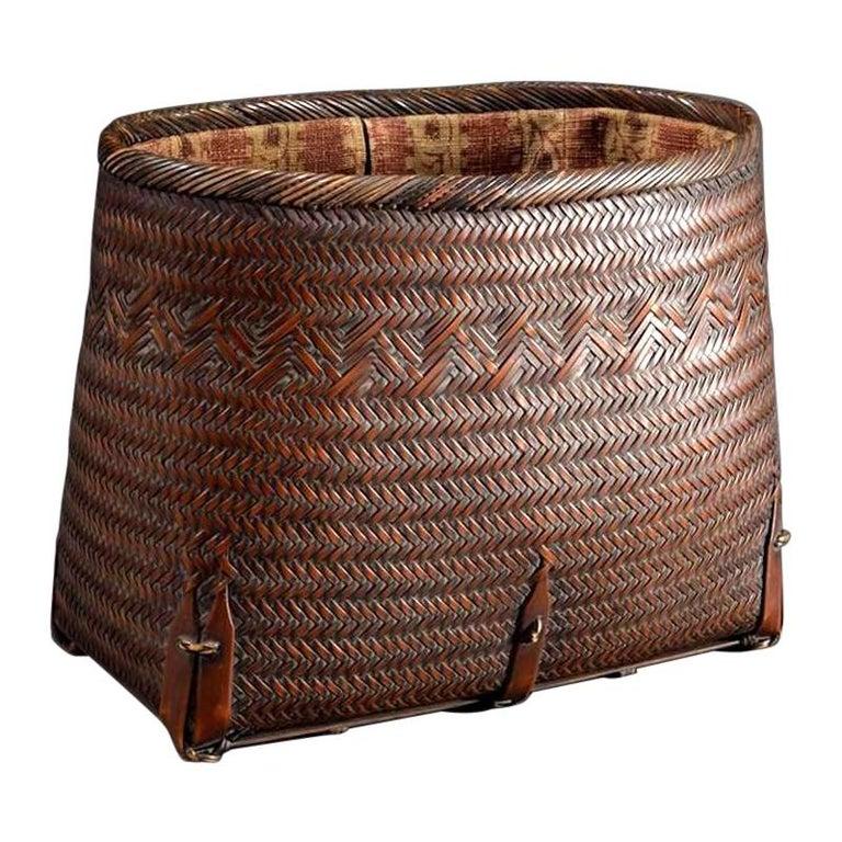 Japanese Hand Basket with Brocade Interior by Suzuki Gengensai For Sale